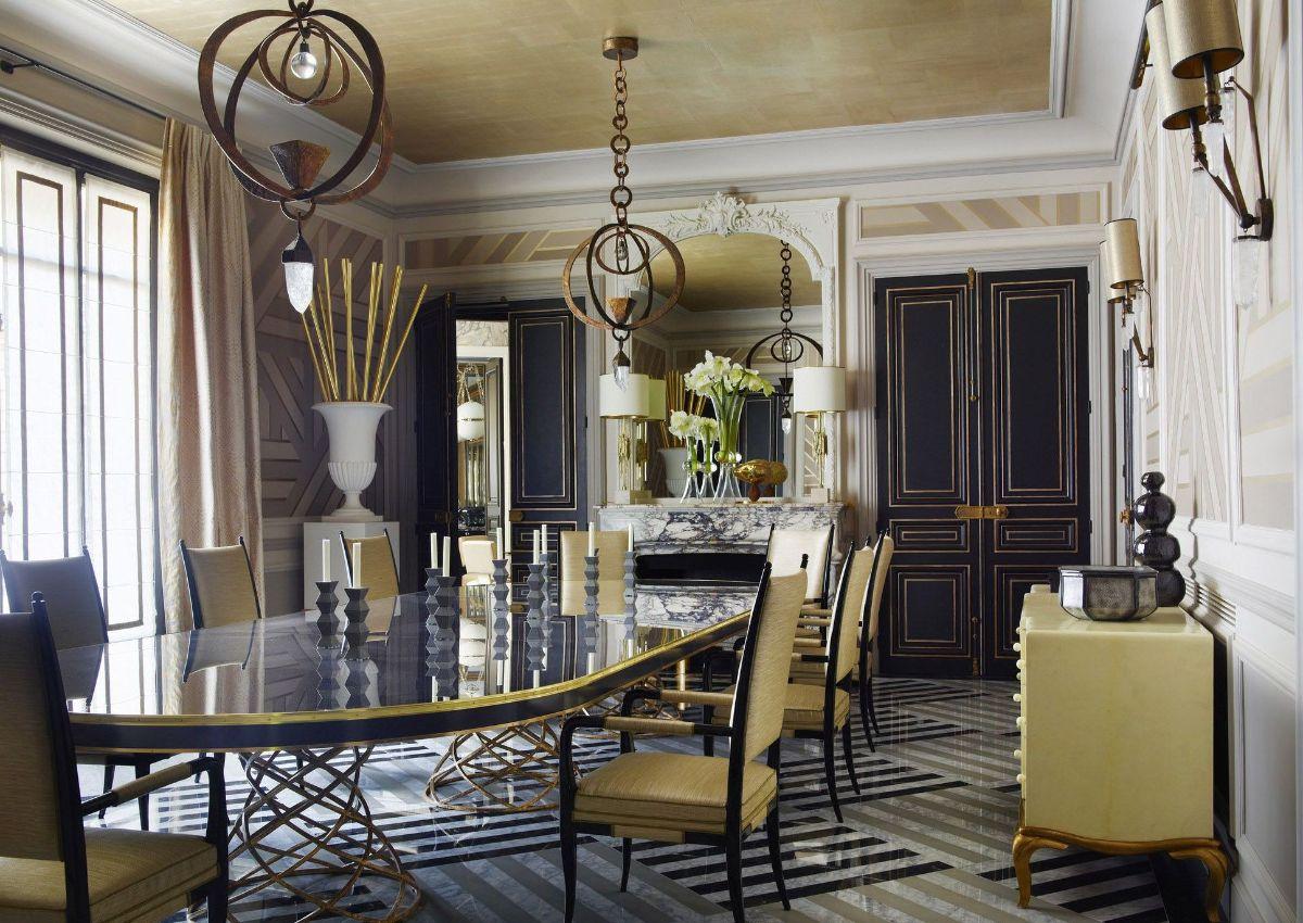 дорогой интерьер гостиной в стиле модерн отделка с золотыми акцентами