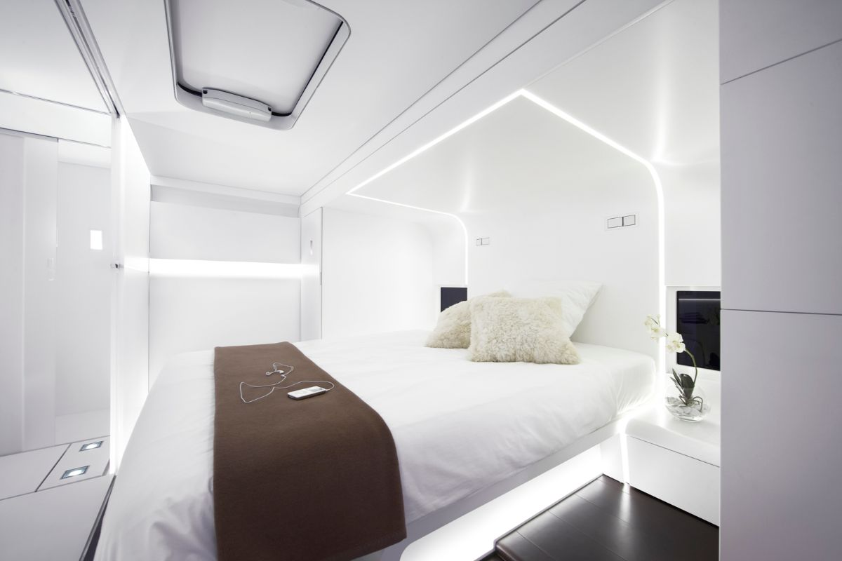 футуристический дизайн белоснежной спальни