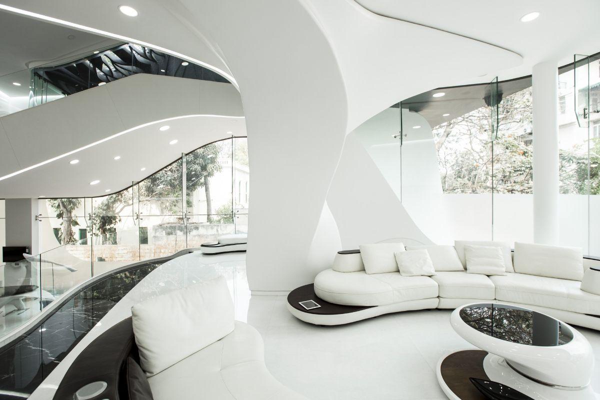 футуристический дизайн гостиной фото пример