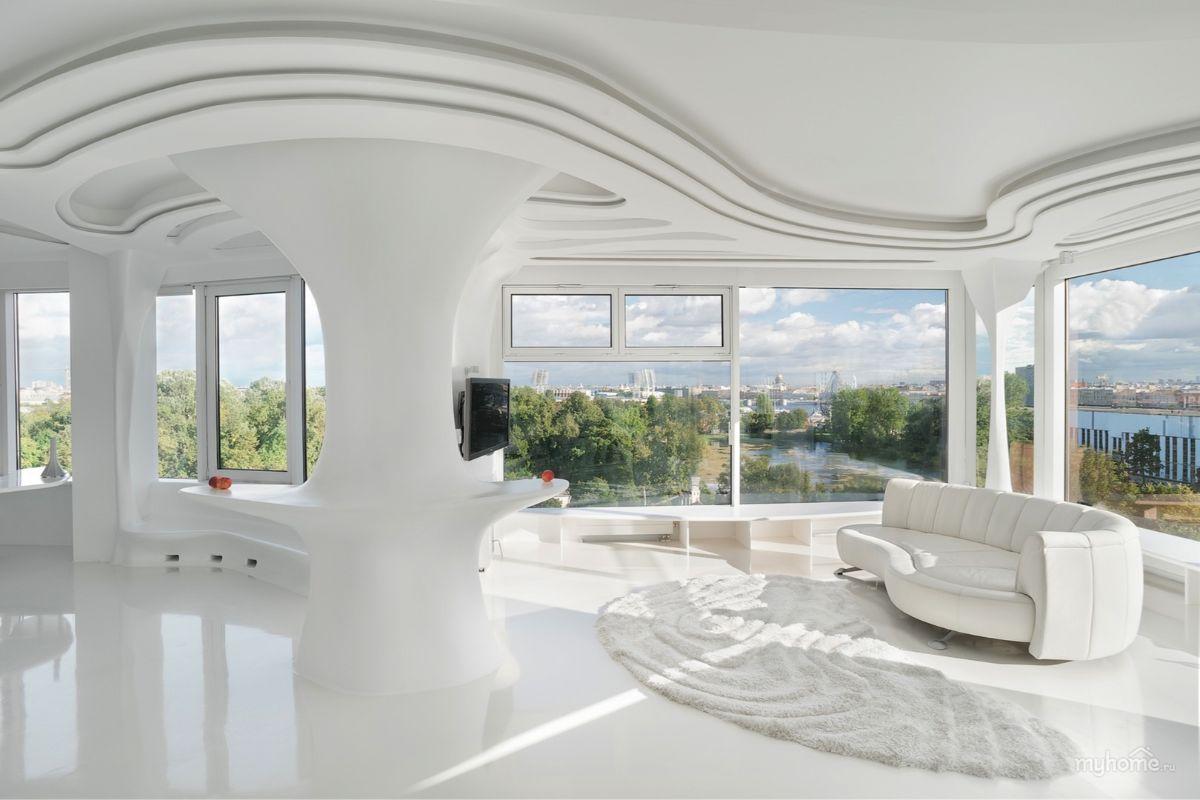 футуристический дизайн гостиной округлые линии