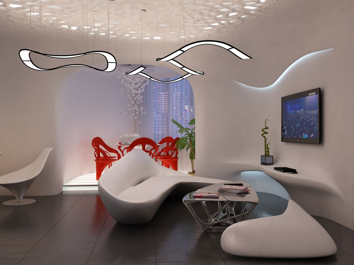 футуристический дизайн гостиной с интересной мебелью