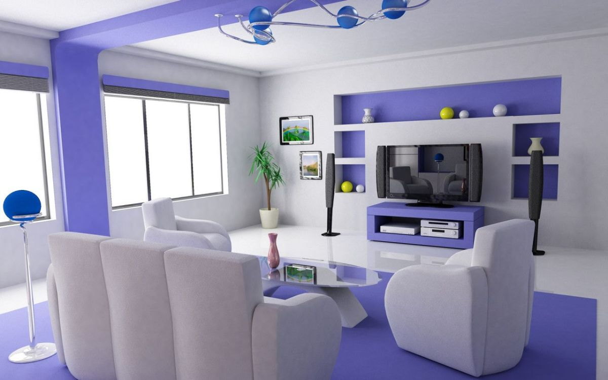 футуристический дизайн гостиной с сиреневыми акцентами