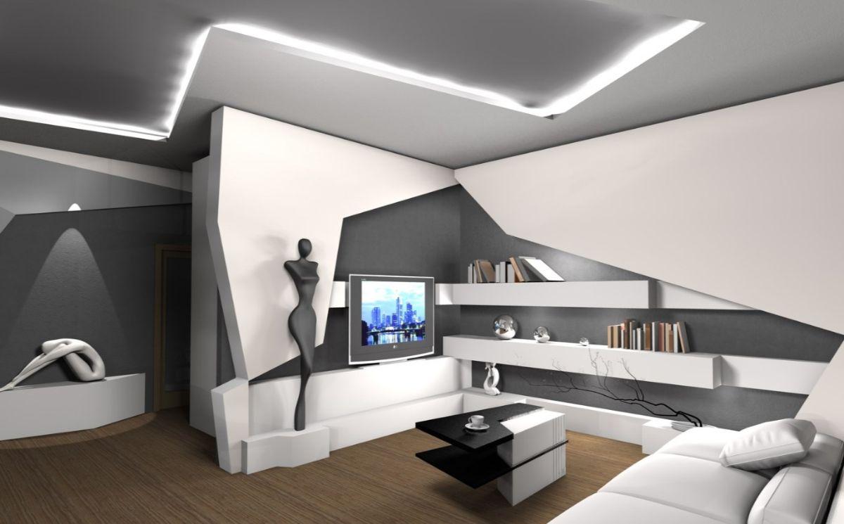 футуристический дизайн интерьера гостиной