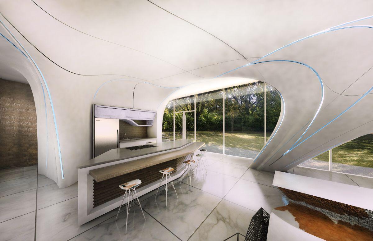 футуристический дизайн интерьера с мраморной напольной плиткой