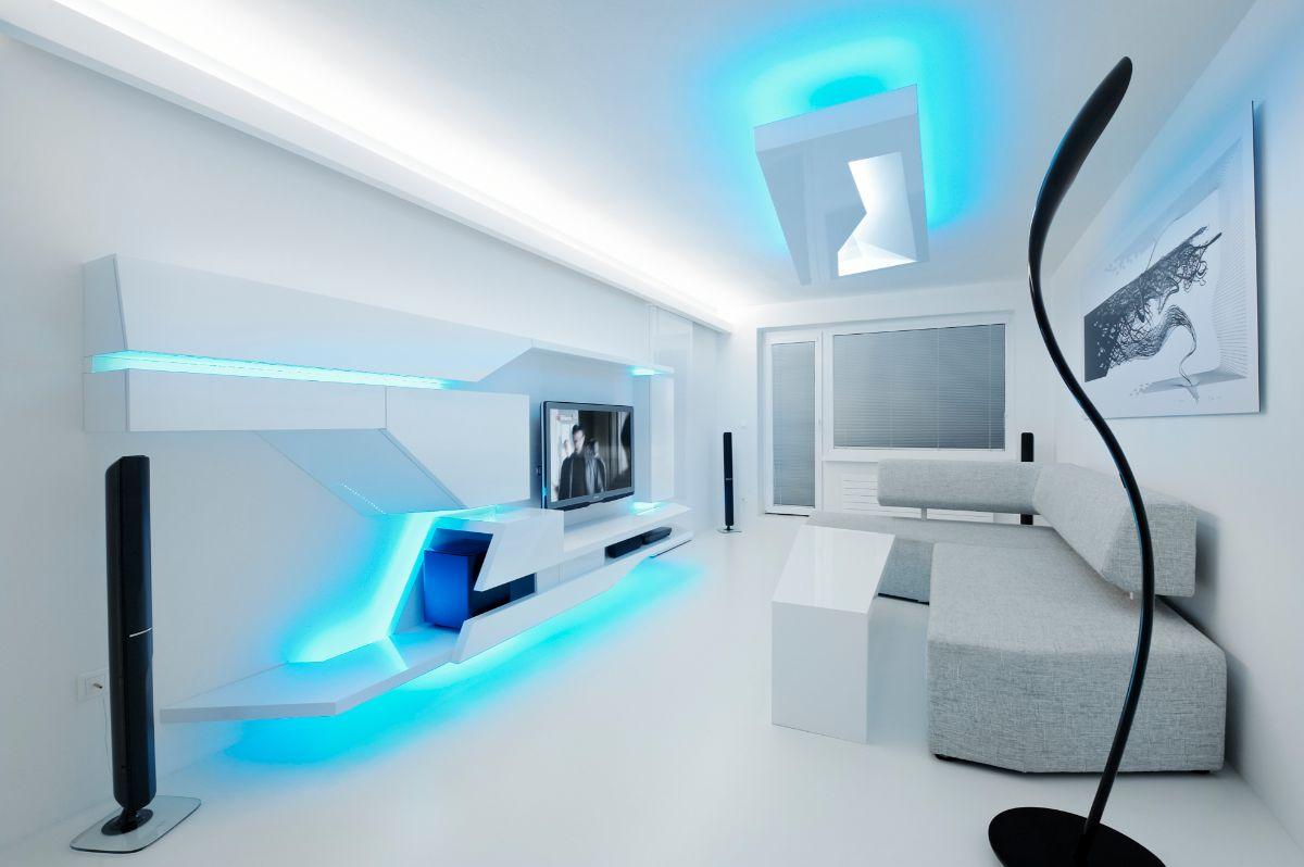 футуристический дизайн интерьера спальни в белом цвете