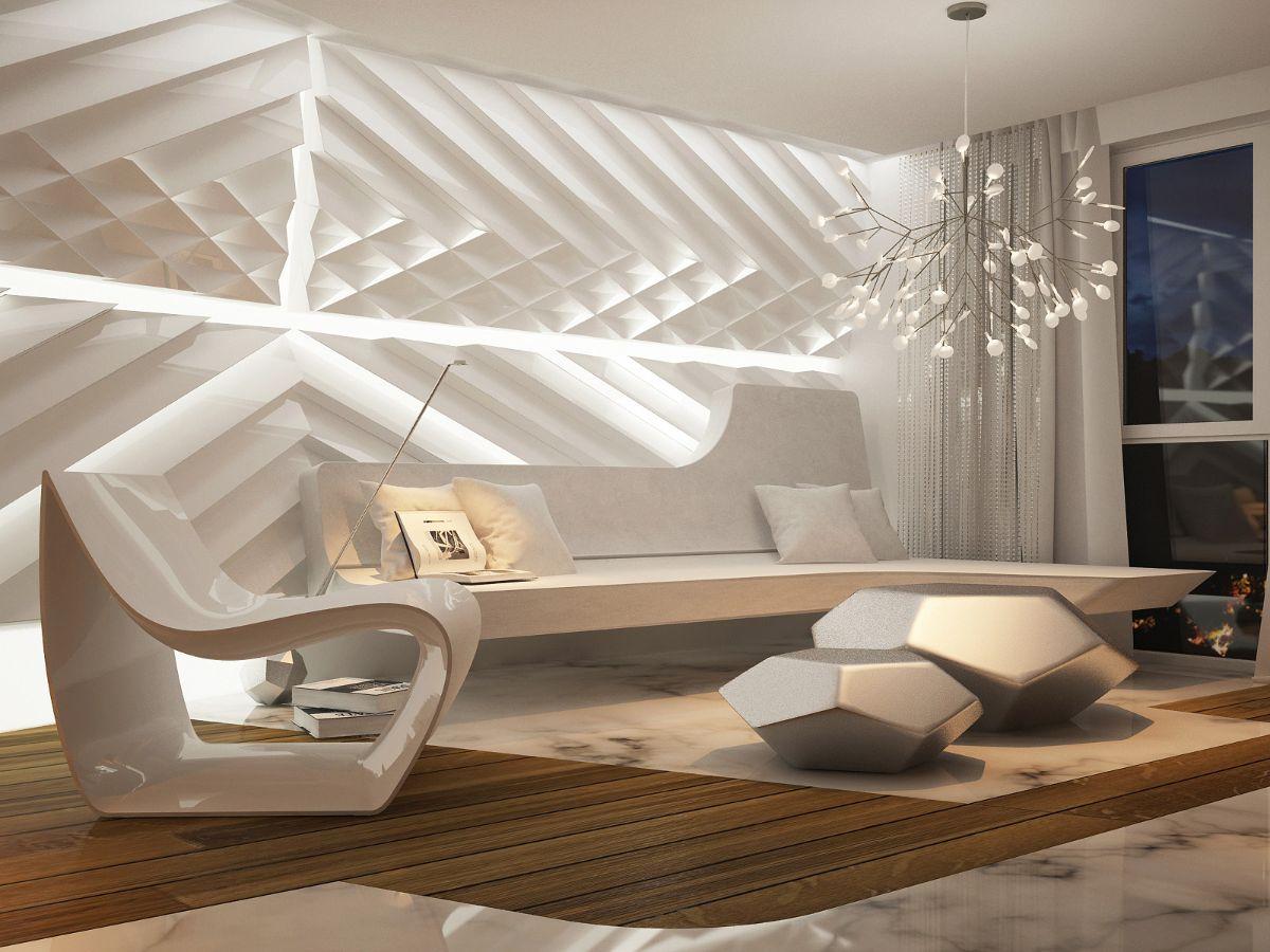 футуристический дизайн интерьера в бежевых тонах