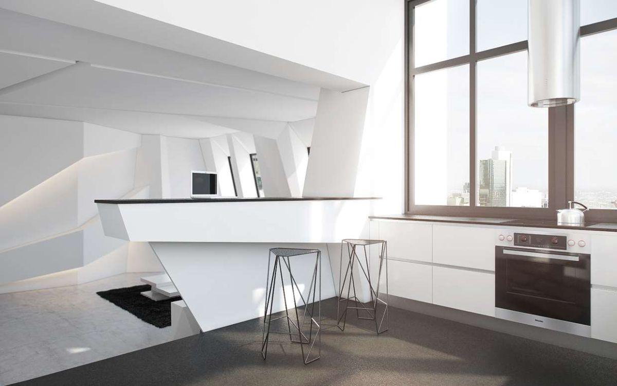 футуристический дизайн кухни гостиной с панорамным окном
