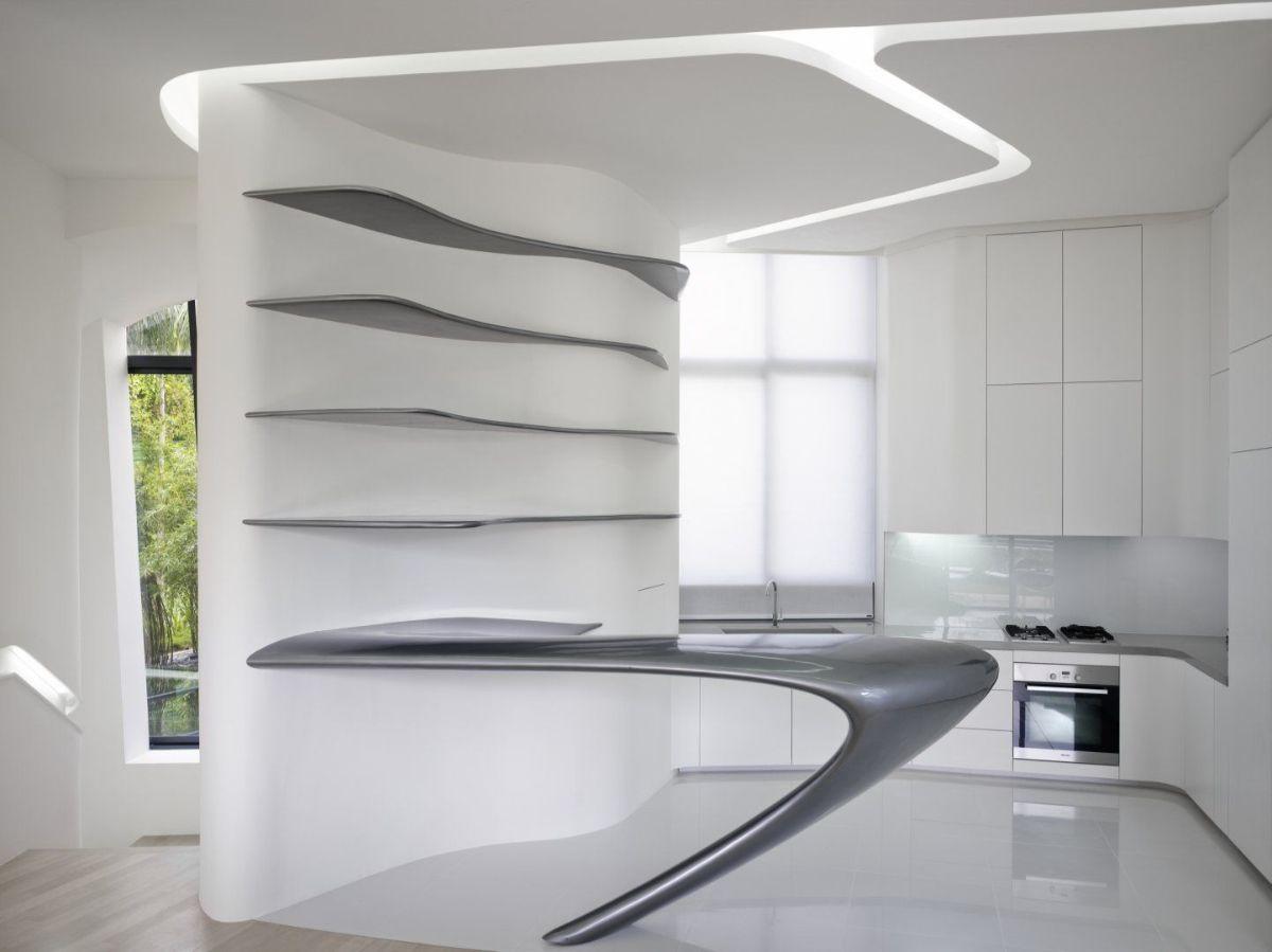 футуристический дизайн кухни с серой барной стойкой
