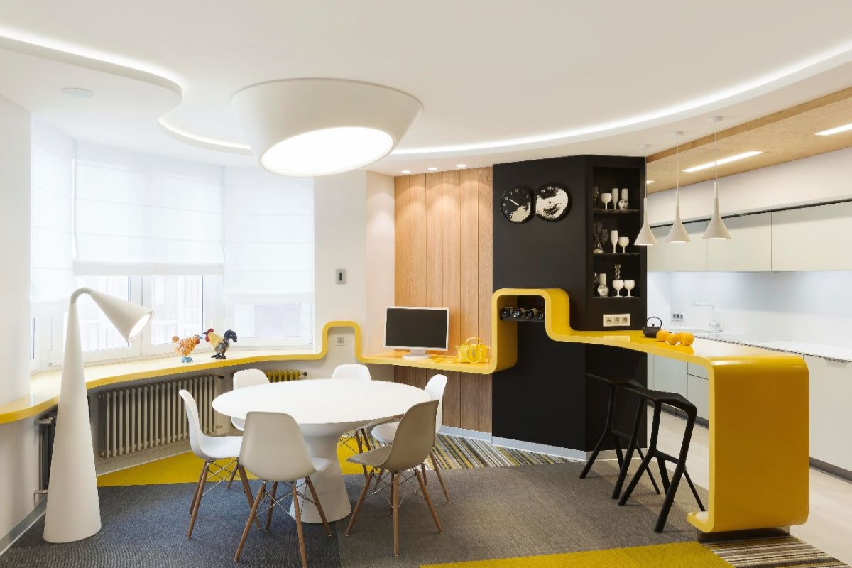 футуристический дизайн кухни с жёлтыми акцентами