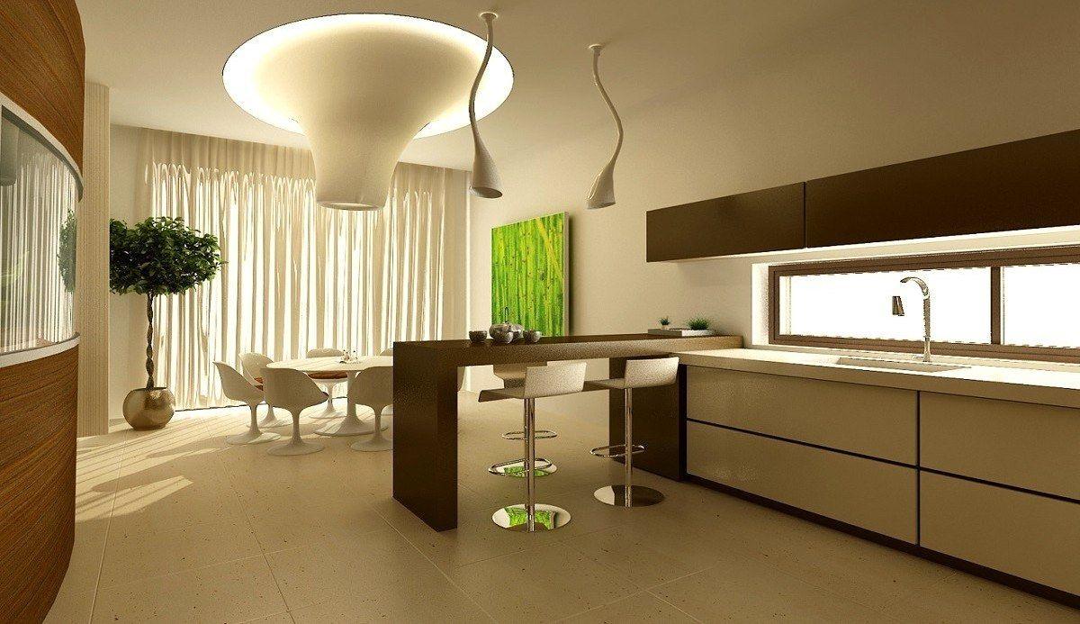 футуристический дизайн кухни со столовой зоной
