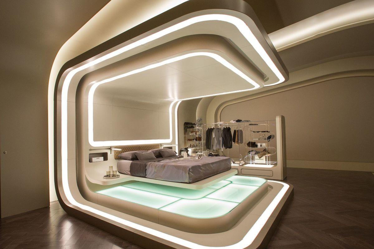 футуристический дизайн кухни спальни в золотисто-бежевых тонах