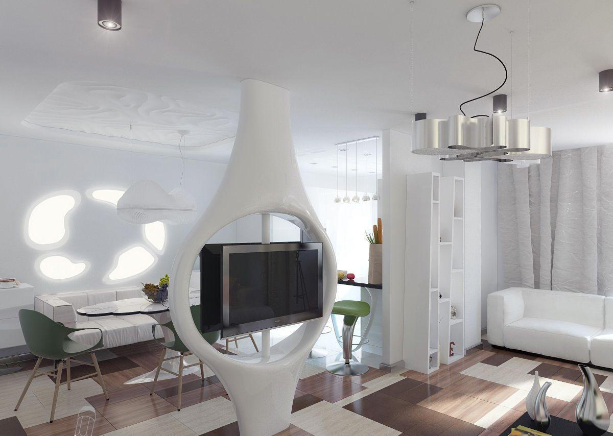 футуристический дизайн небольшой квартиры студии