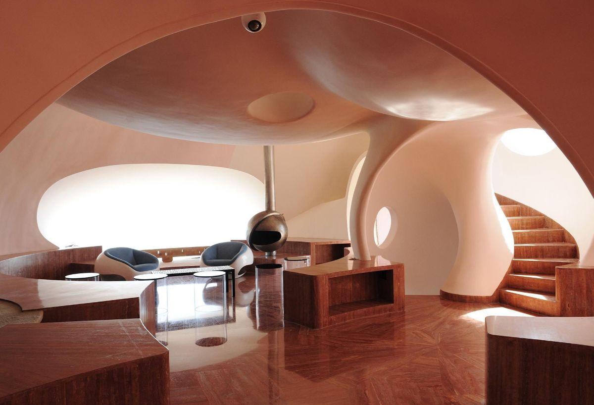 футуристический дизайн с обьемным потолком