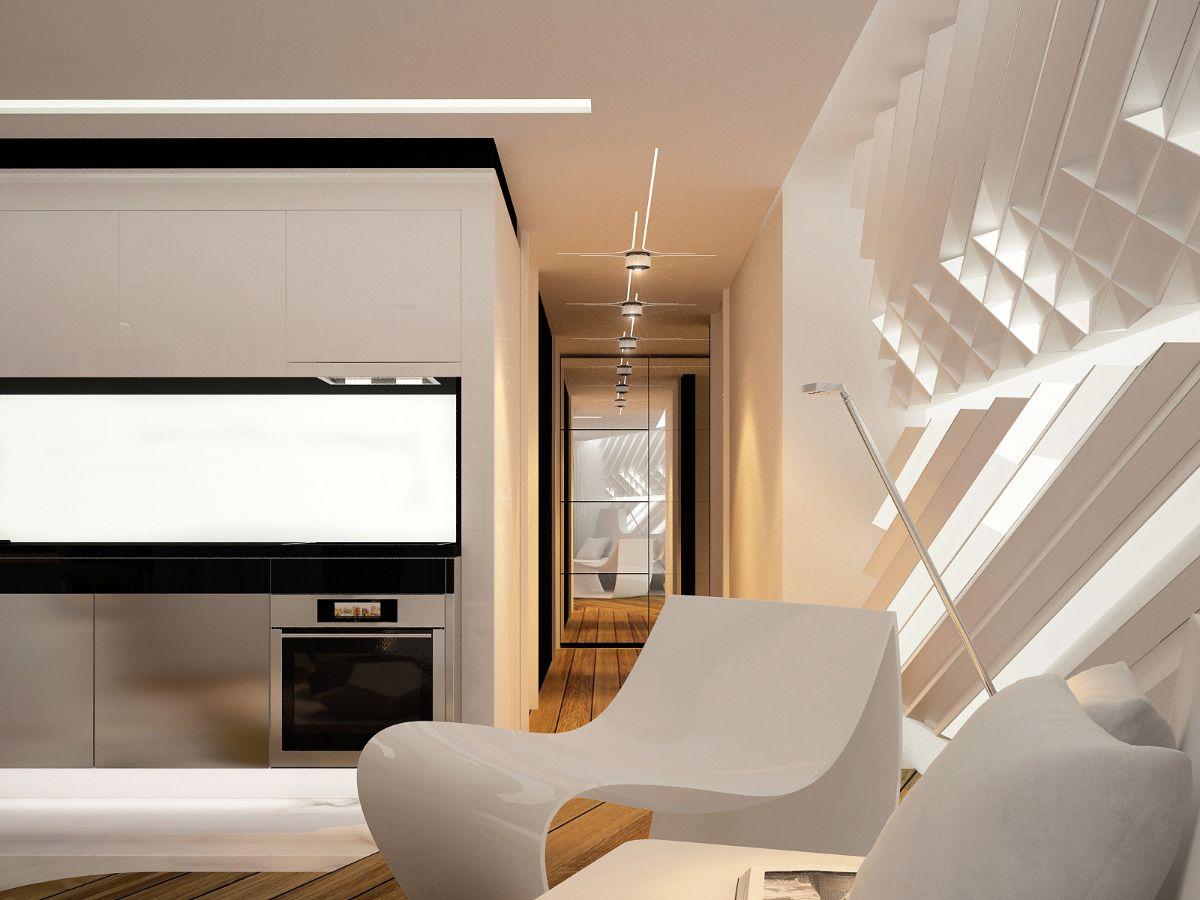 футуристический дизайн с объемными стеновыми панелями