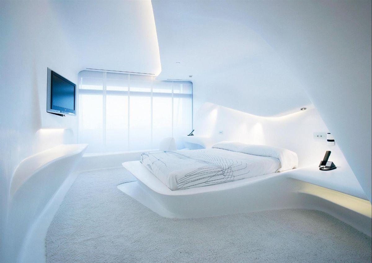 футуристический дизайн спальни белый цвет с подсветкой