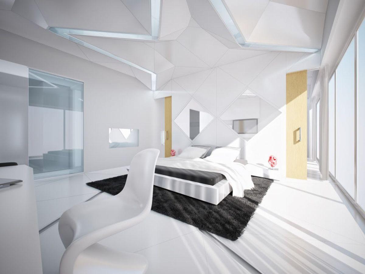 футуристический дизайн спальни белый цвет