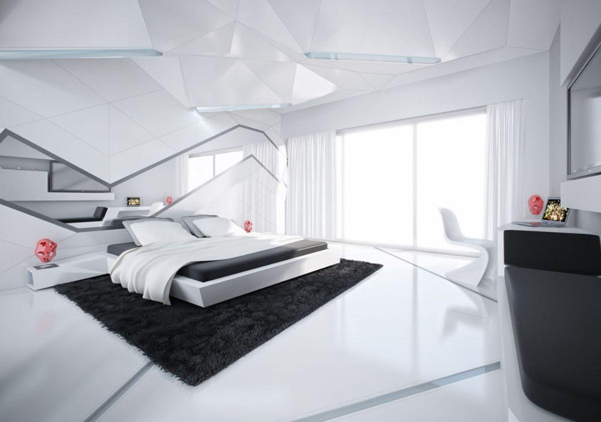 футуристический дизайн спальни чёрно-белый цвет
