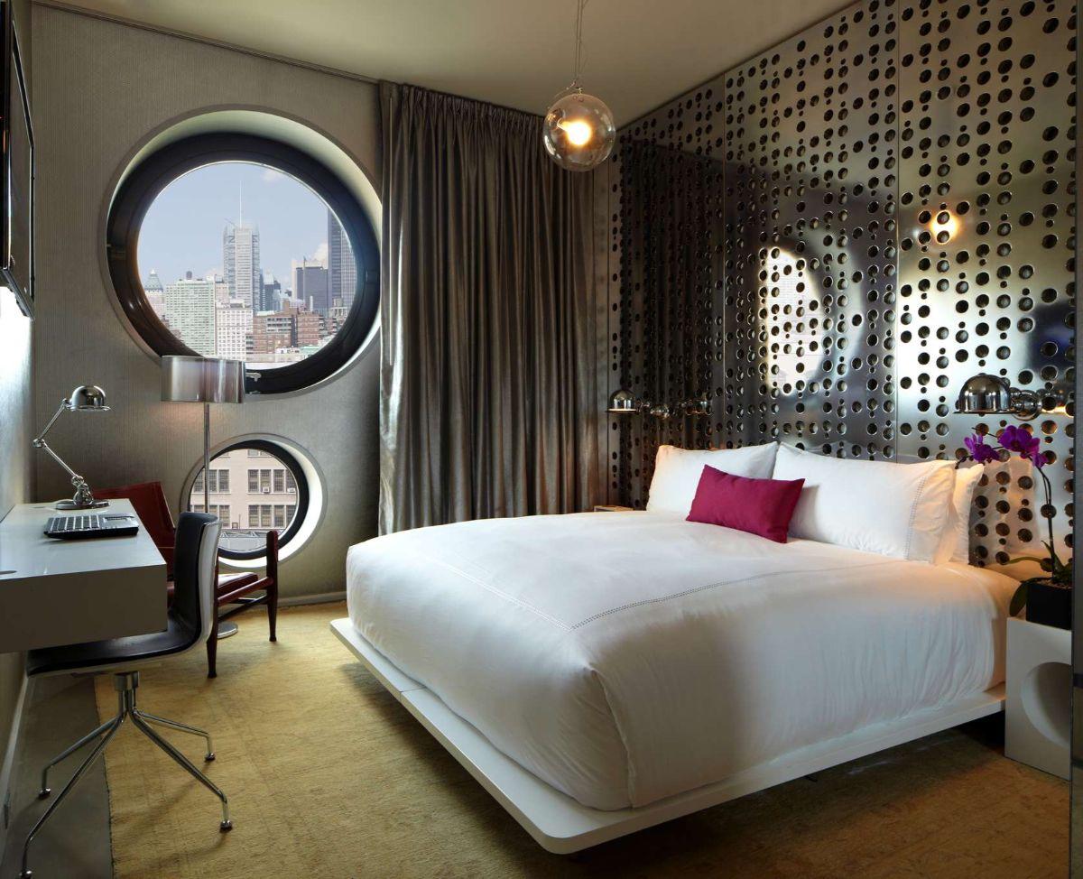 футуристический дизайн спальни декоративная стена с перфорациями