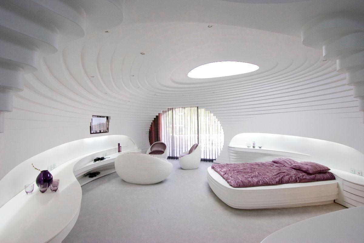футуристический дизайн спальни фото пример