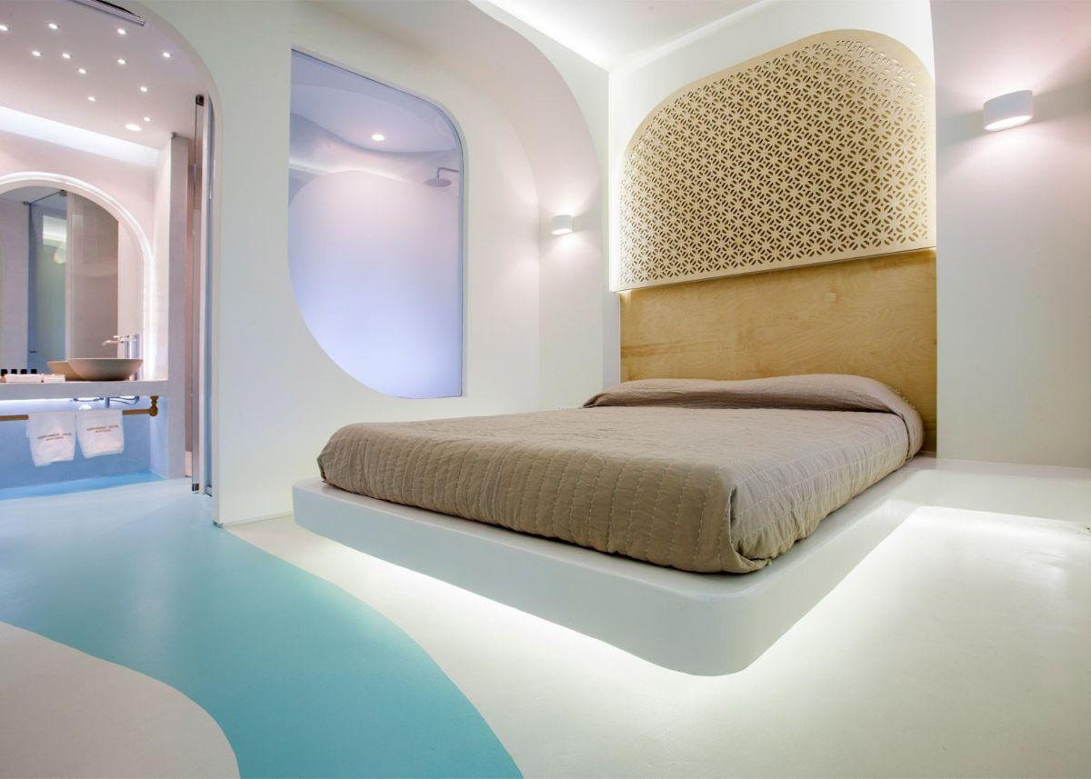 футуристический дизайн спальни кровать с подсветкой