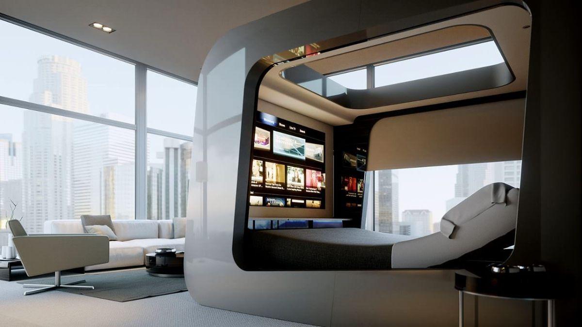 футуристический дизайн спальни необычная кровать с панелью для телевизора
