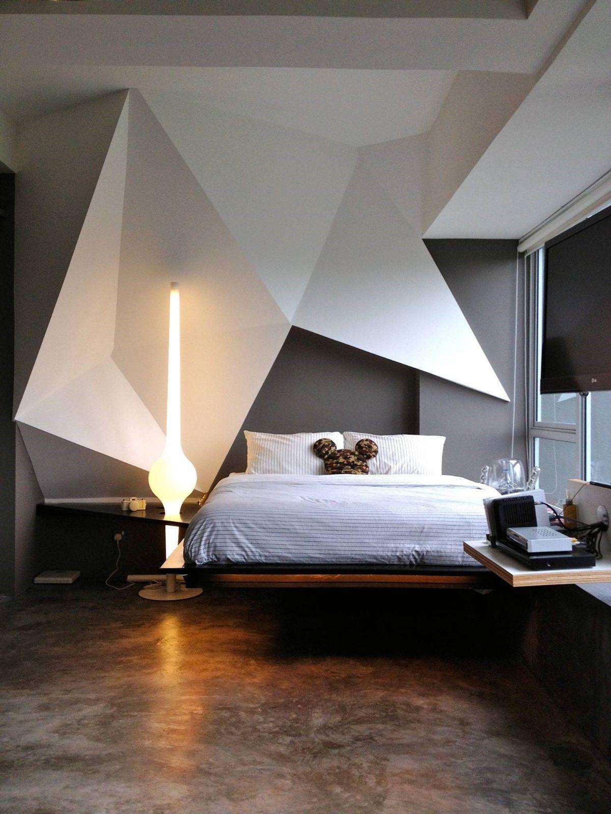 футуристический дизайн спальни объемный декор