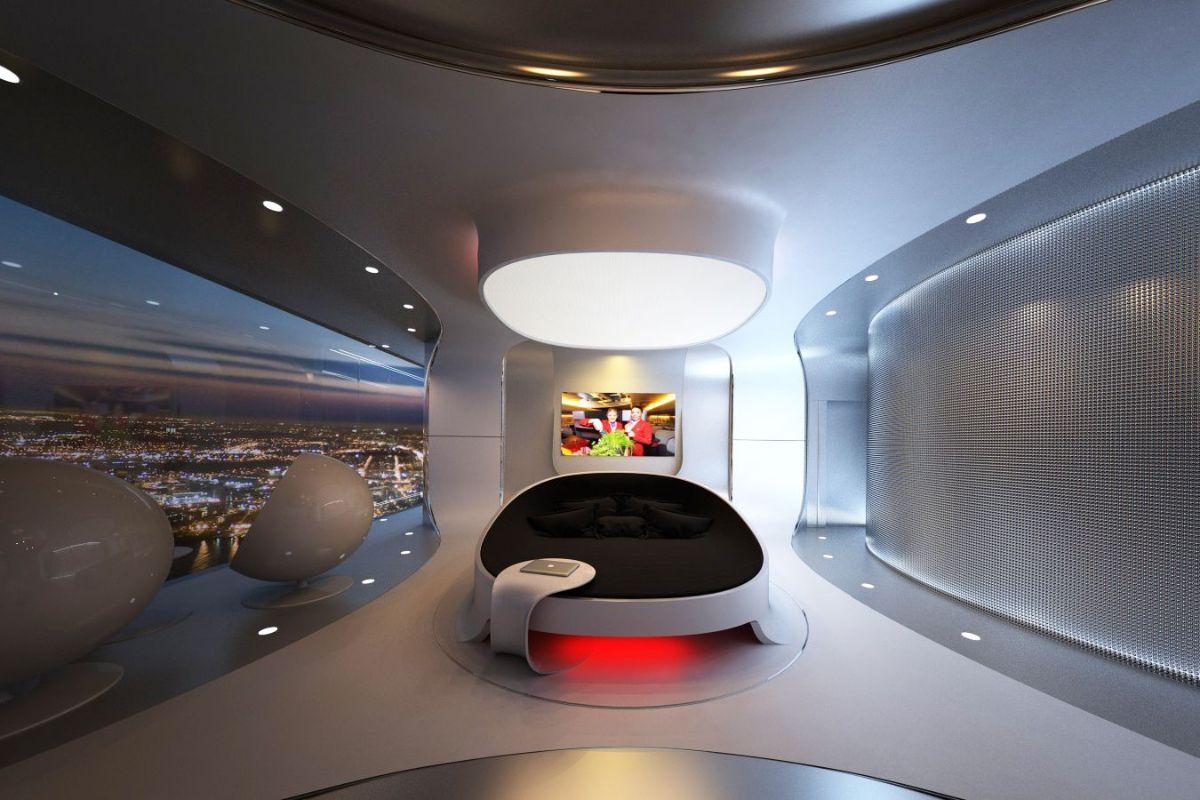 футуристический дизайн спальни с круглой кроватью