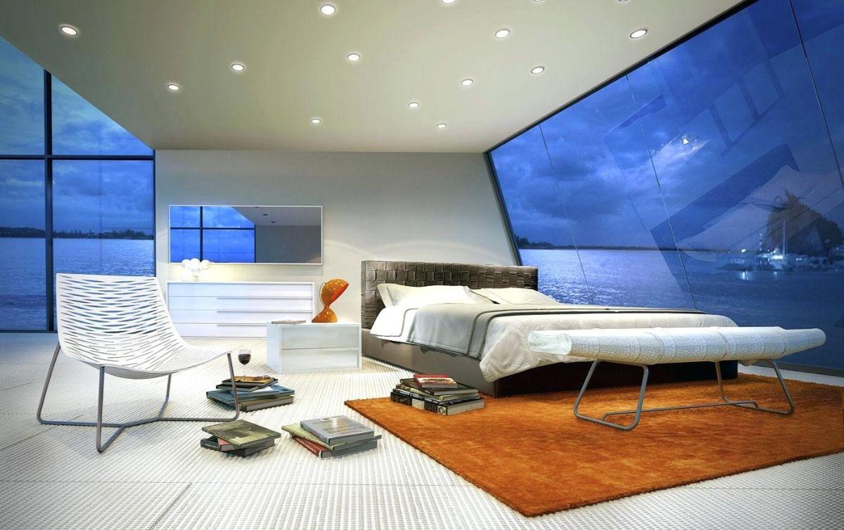футуристический дизайн спальни с наклонными стенами
