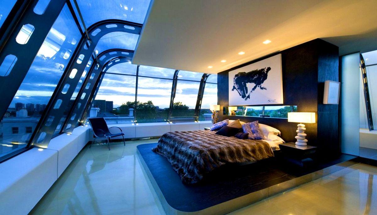 футуристический дизайн спальни с панорамным остекленением