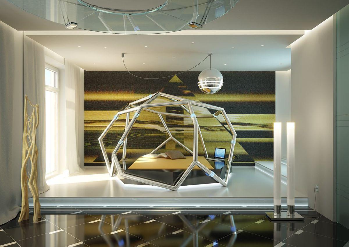 футуристический дизайн спальни с неординарной кроватью