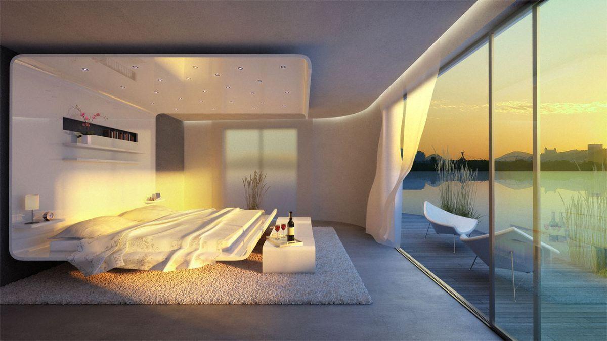 футуристический дизайн спальни с панорамными окнами