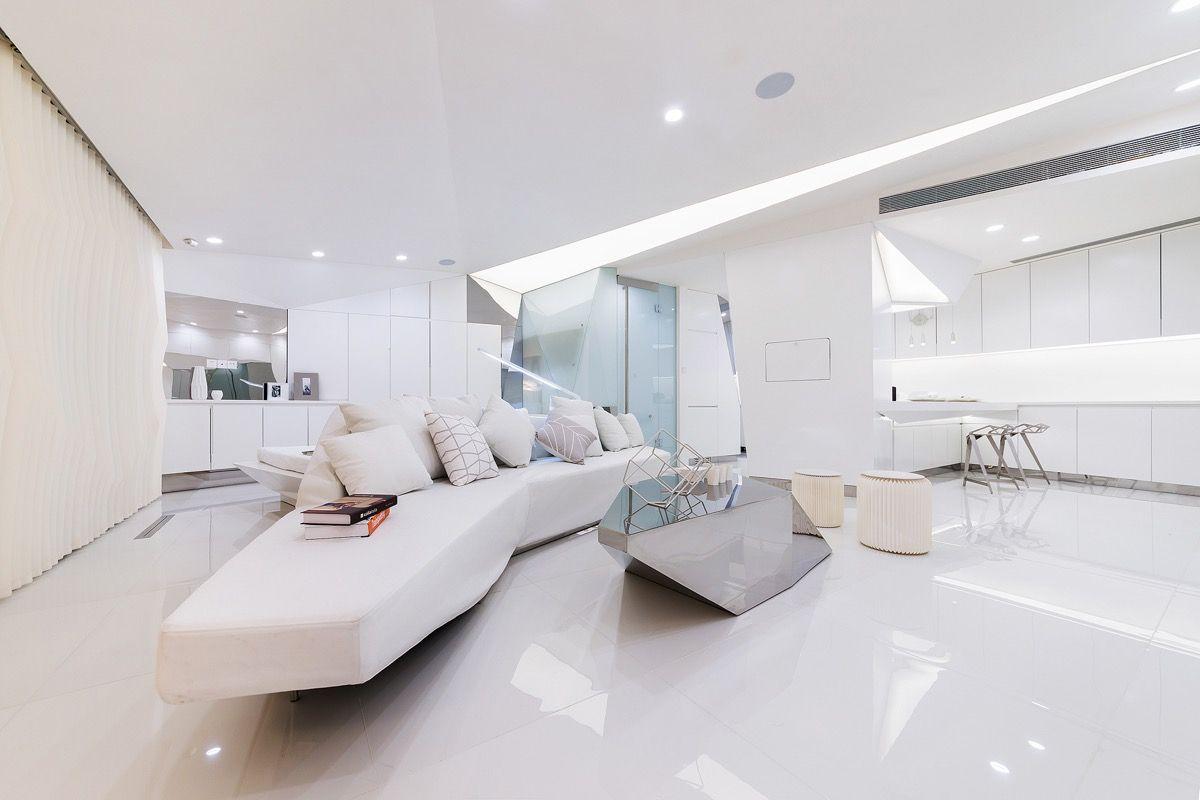 футуристический дизайн студии в белом цвете