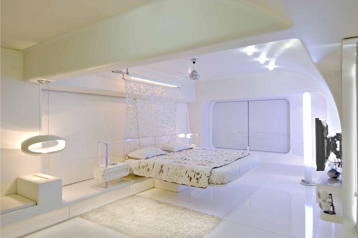 футуристический дизайн светлой спальни