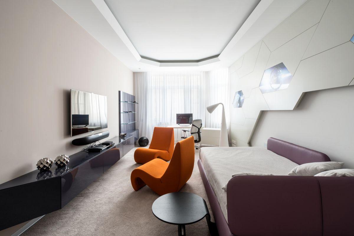 футуристический дизайн узкой гостиной