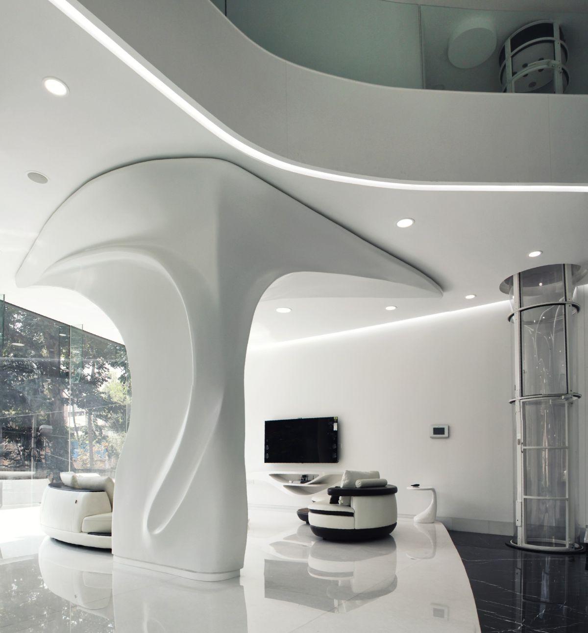 футуристический дизайн в белом цвете