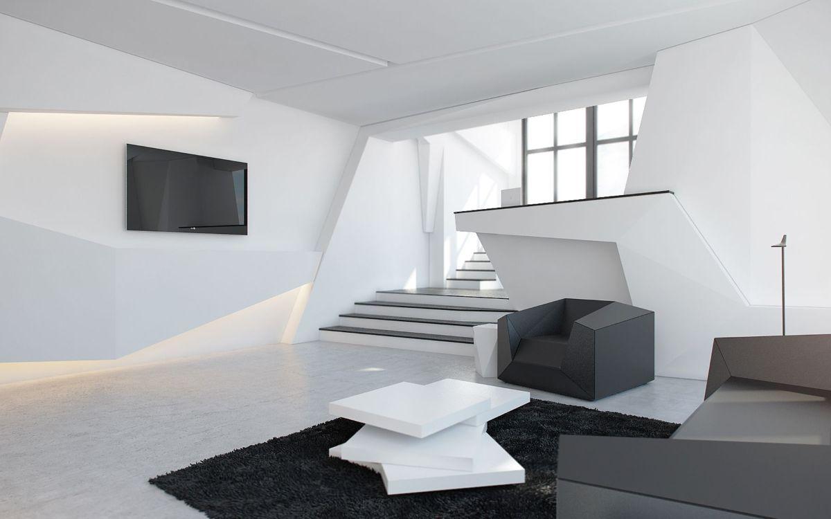 футуристический дизайн в чёрно-белом цвете