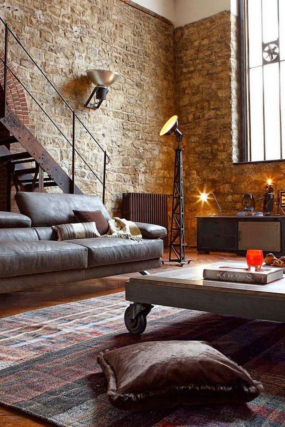 индустриальный стиль в дизайне интерьера каменная стена