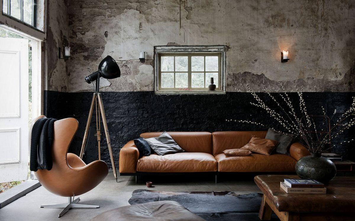 индустриальный стиль в дизайне интерьера мягкая мебель