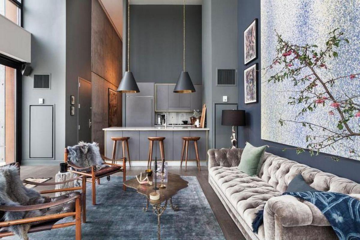 индустриальный стиль в интерьере гостиной комнаты