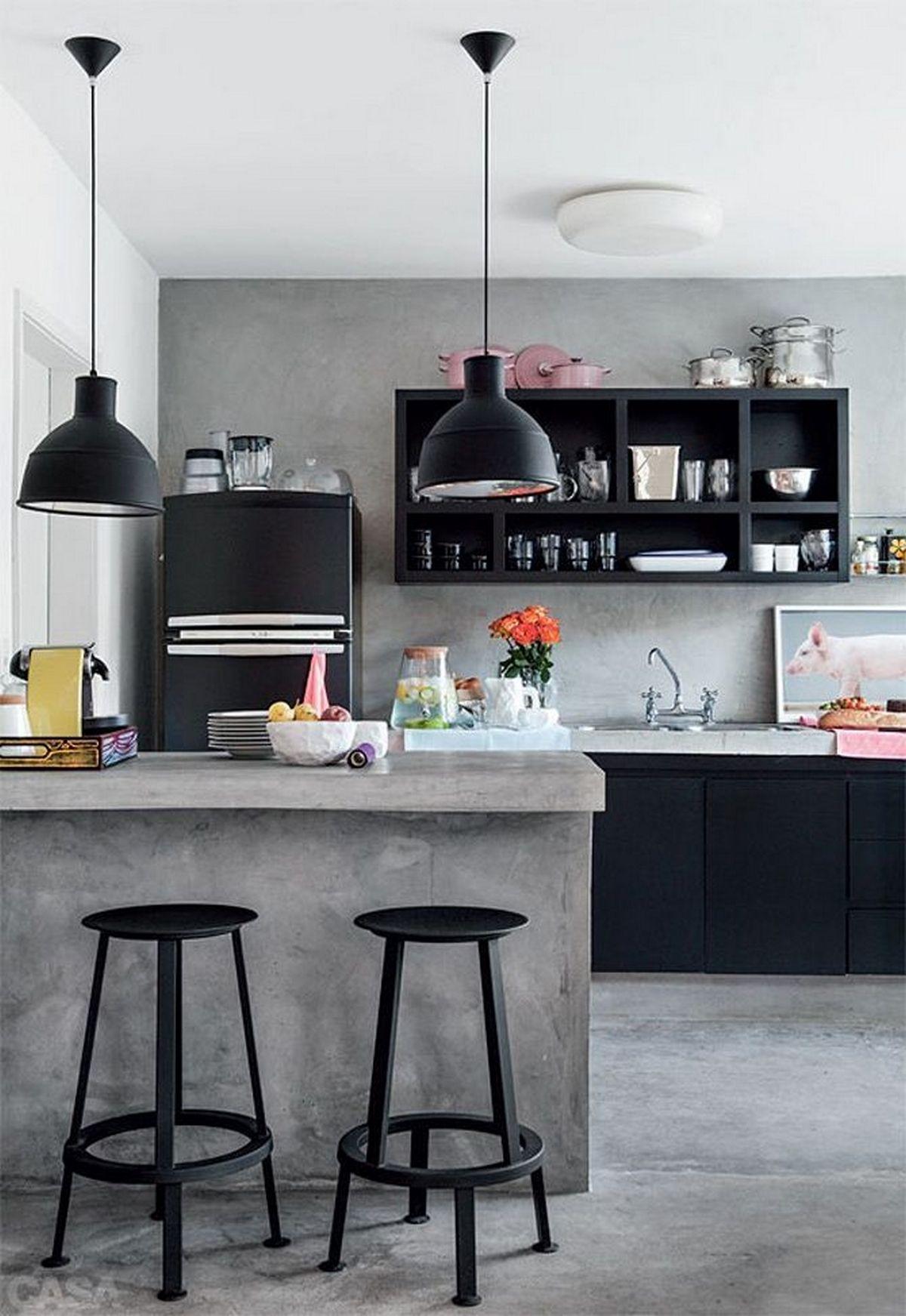 индустриальный стиль в интерьере кухни с барной стойкой