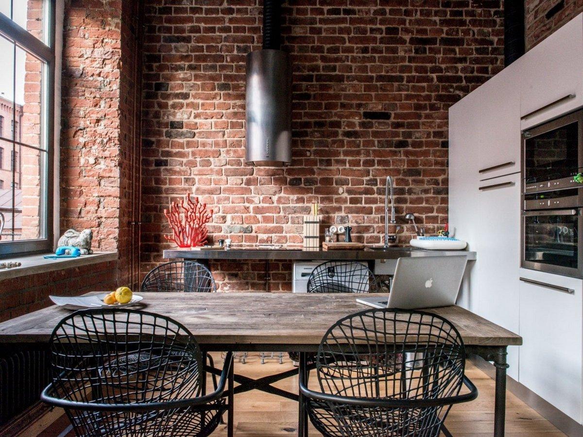 индустриальный стиль в интерьере квартиры кухня
