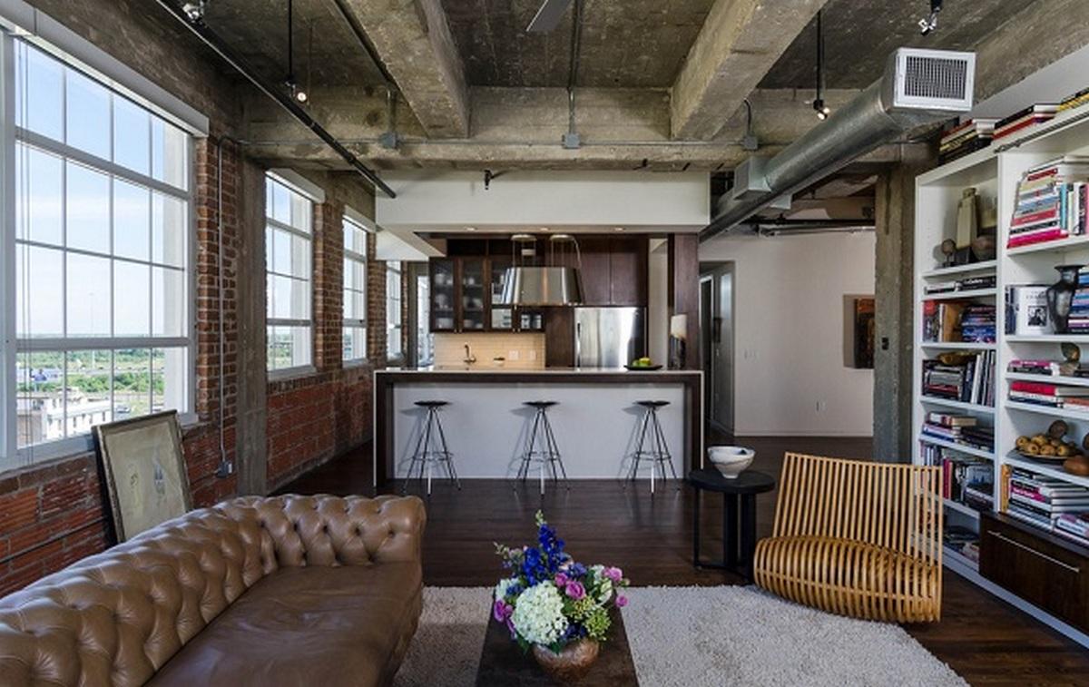 индустриальный стиль в интерьере квартиры кухня студия