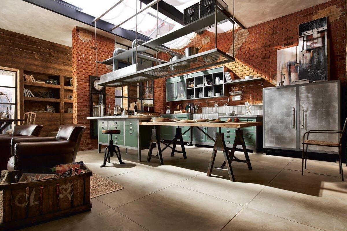 индустриальный стиль в интерьере квартиры на фото