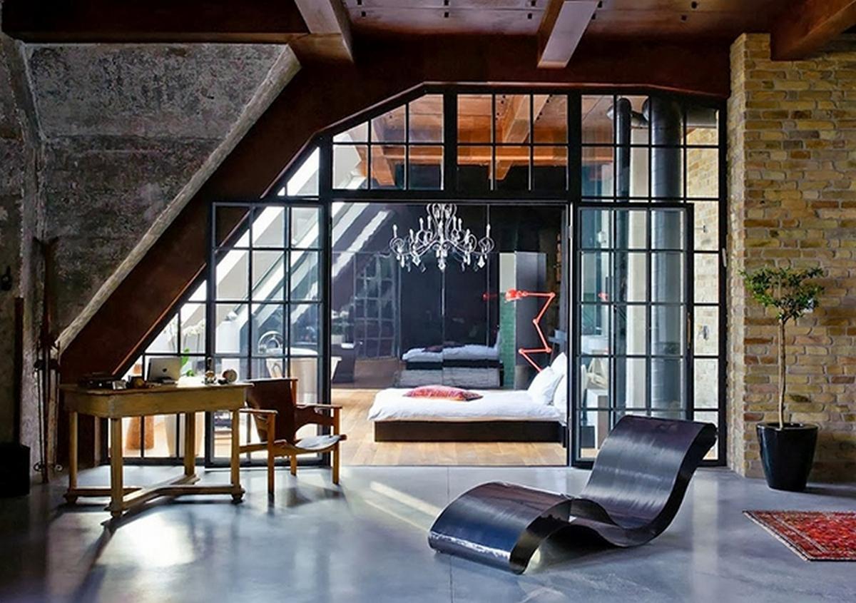 индустриальный стиль в интерьере квартиры панорамные окна