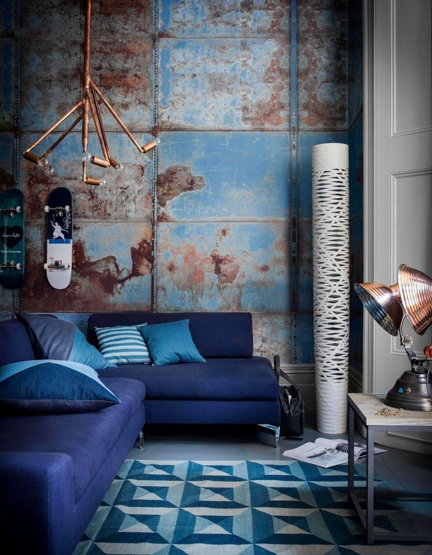 индустриальный стиль в интерьере стены с корозией