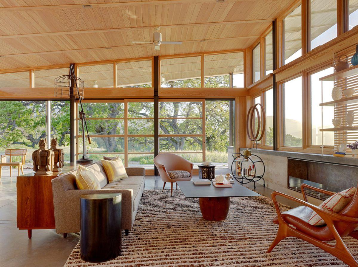 интерьер в стиле модерн планировка с панорамным остекленением