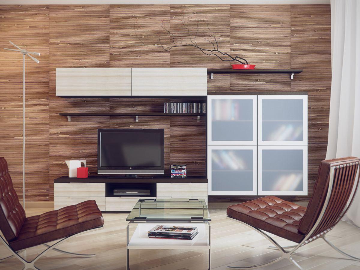 интерьер в стиле модерн с бамбуковыми обоями