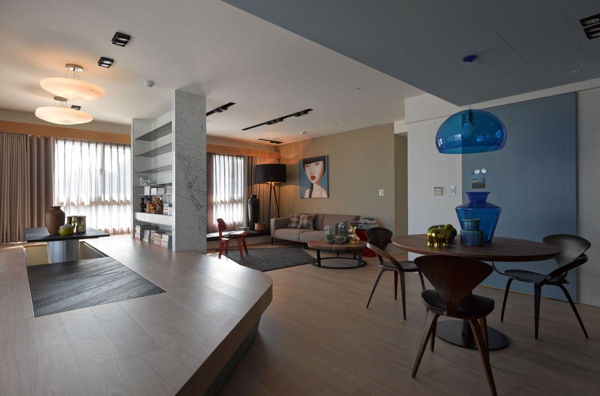 интерьер в стиле модерн с подиумом
