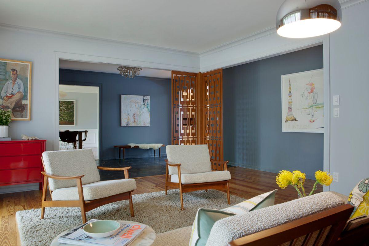 интерьер в стиле модерн с серо-голубыми стенами
