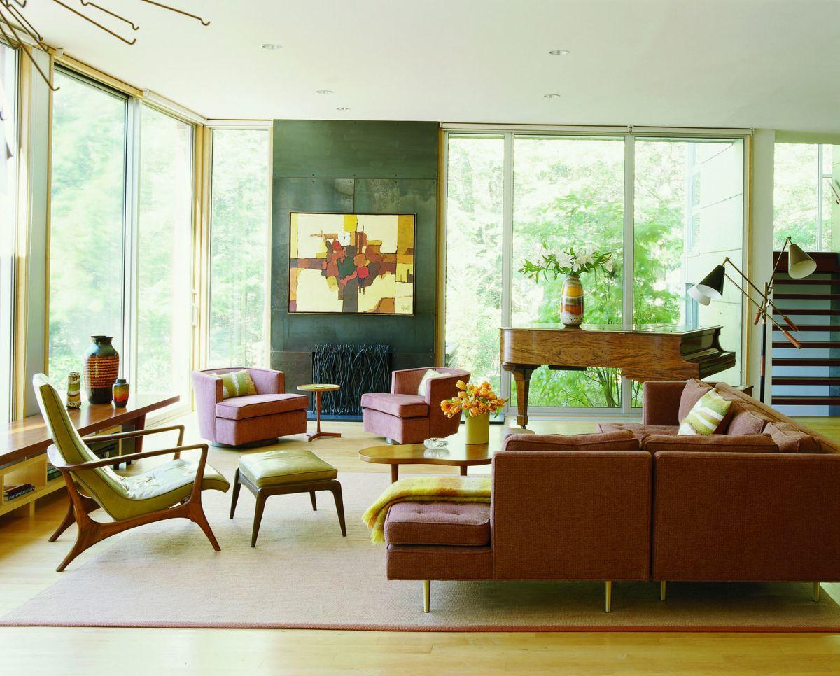 интерьер в стиле модерн сочетание зелёного с коричневым